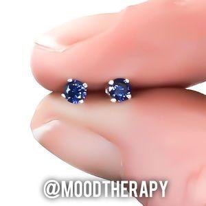Tiny tanzanite stud earrings 925 sterling silver